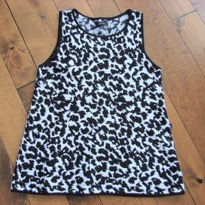 Babaton Aritzia Black White Animal Knit Tank Top